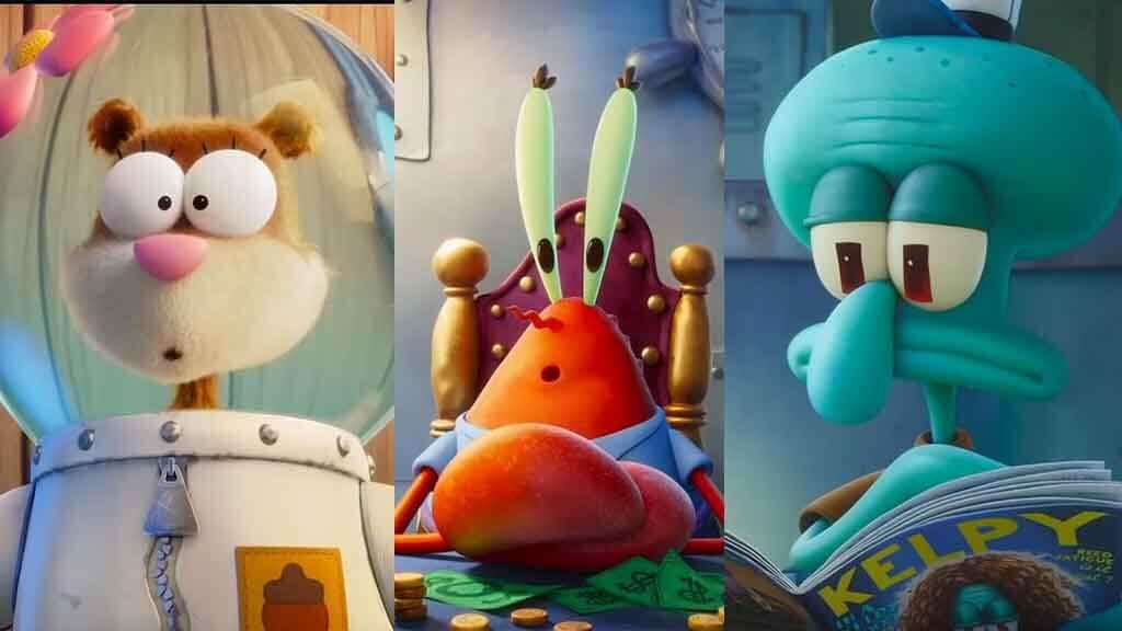 arenita, don cangrejo y calamardo bob esponja al rescate