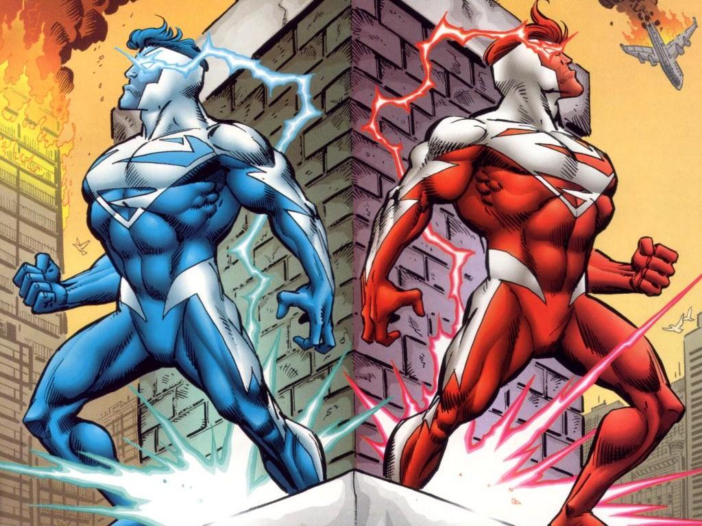 superman-rojo y superman azul