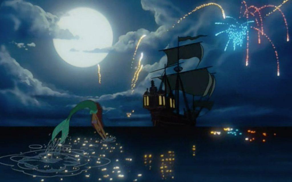 ariel nadando barco